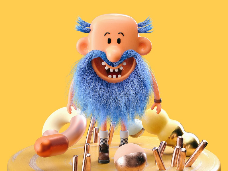 Mr Bumfluff - Full arnold render c4d cinema 4d bearded 3d character character illustration 3d illustration illustration