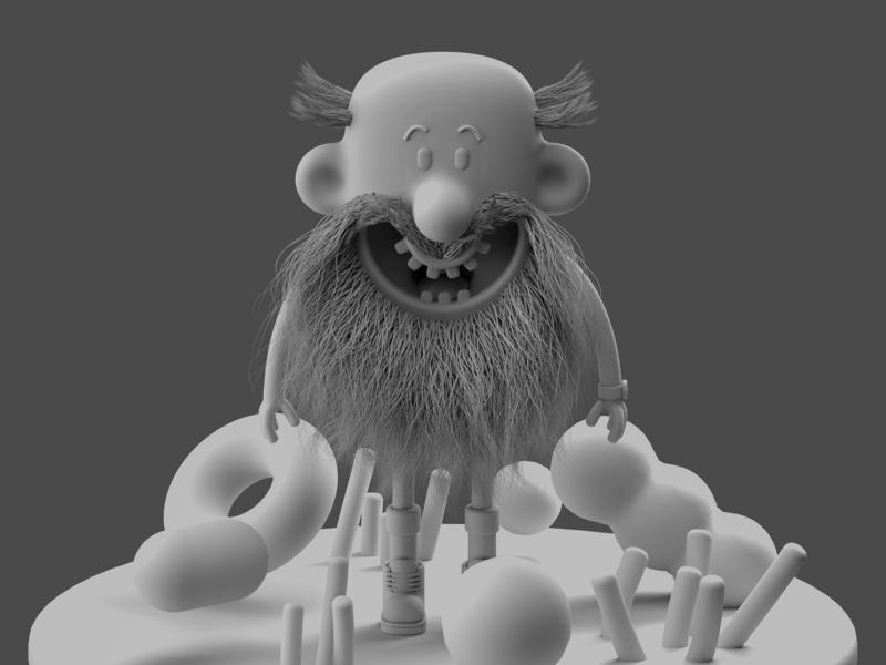 Mr Bumfluff - Clay render illustration cinema 4d cinema4d 3d character modeling character development character concept character modeling character design character illustration c4d beard bearded arnold renderer 3d illustration 3d character