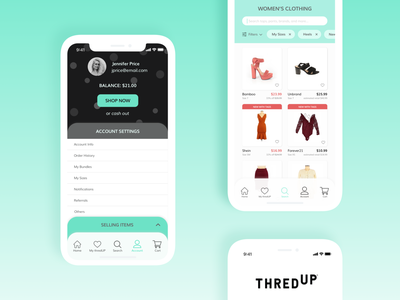 ThredUp Mobile App shopping app ui challenge ui design ui mobile design thredup
