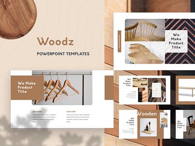 Woodz Branding PowerPoint Template product diy wood architecture presentation ui template slide ppt pptx powerpoint keynote pitch google slide deck