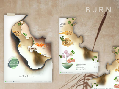 B U R N- Restaurant Menu Branding illustration menu design branding design