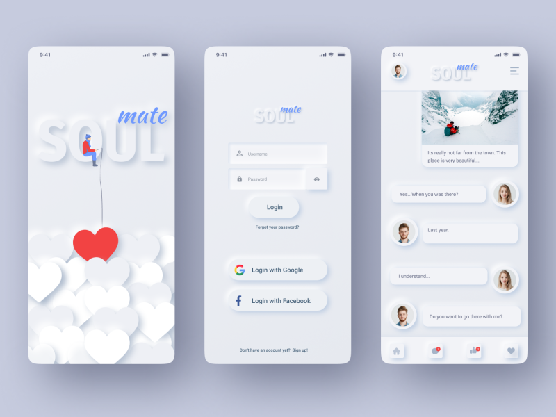 Dating App Neumorphism white style iphone neumorphism white app app design white iphone mockup neumorphism white style iphone dating app