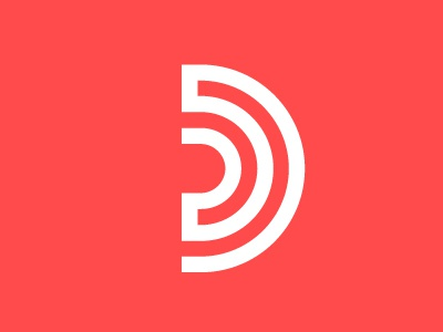 another one bites the D-ust red identity branding audio sound concept unused d logo