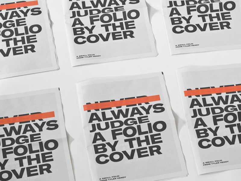 Always judge a folio by it's cover tyler hendy hendy tyler folio typography strike out red strike newspaper editorial print