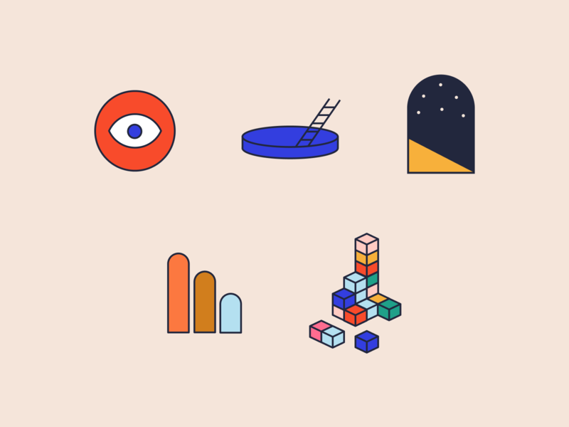Stratifyd Icons and Illustrations branding analytics data blocks charlotte mystery ai augmented intelligence icons illustration