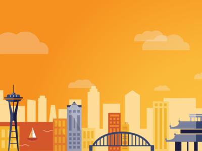 Imex Illustration illustration red orange city