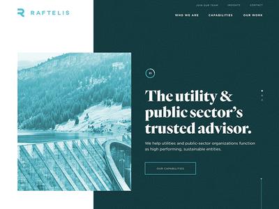 Raftelis Homepage serif utilities water consultants financial ux ui website