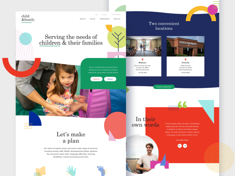 Child & Family Development education kids website shapes therapy psychology development family child ux ui