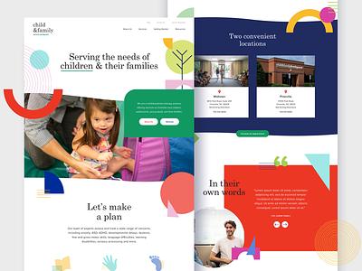 Child & Family Development education kids website shapes therapy psychology development family child ux ui