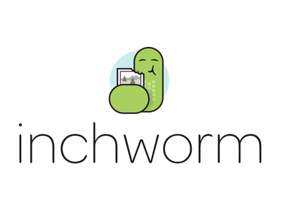 Inchworm Illustration w text logo illustration font software product