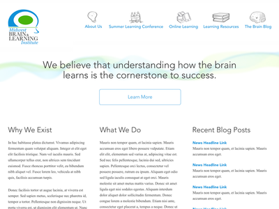 Simple brain learning site homepage layout blog design