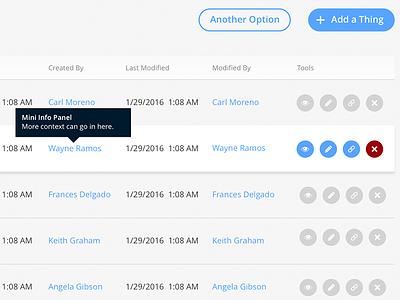 App UI - Row Tools