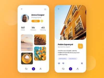 Social media design orange mobile app design mobile design mobile ui social app socialmedia travel app