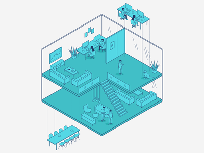 Office workplace work people wework office space isometric illustration isometric illustration office