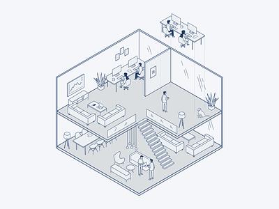 Office office isometric illustration