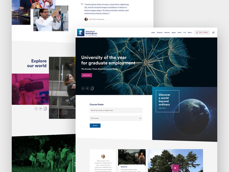 University of Nottingham  website education university college site chris davis business landing grid