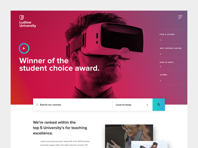 University homepage gradients school course info course page homepage website college education brand university