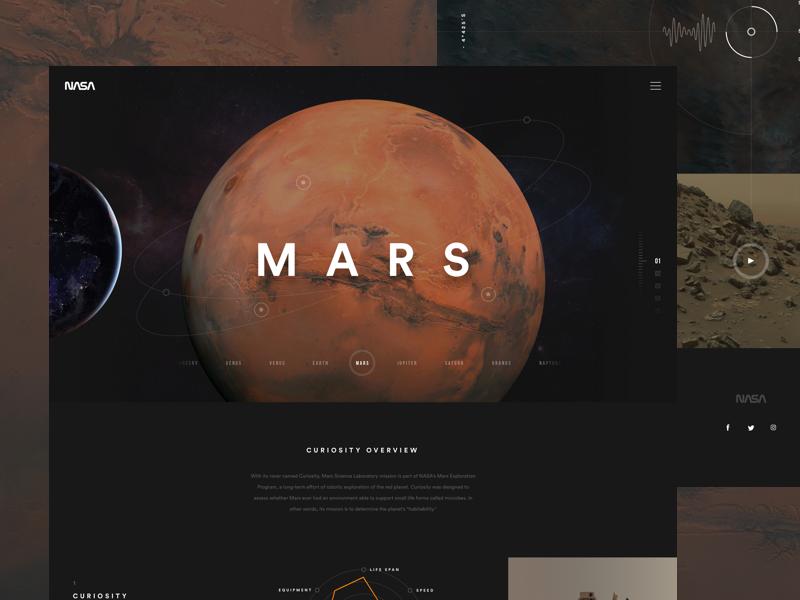 Mars web site mars nasa space sol web interactive planets black dark
