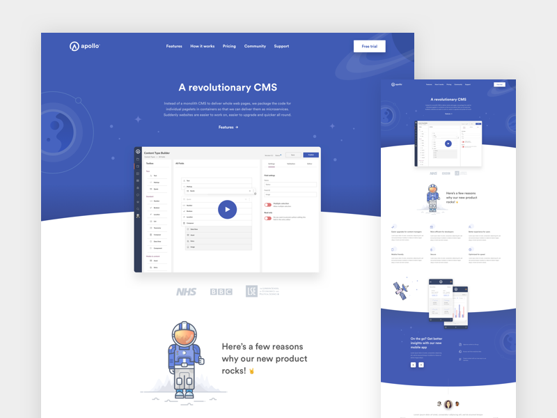 Apollo planets software space native app ios android application crm cms app product