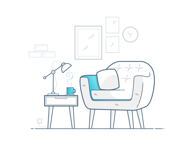Let's have a chat. chill relax furniture illustration icon lamp interior chair