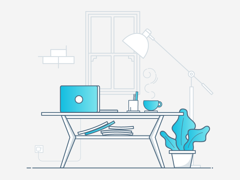 Let's have a chat. chat meeting plant computer coffee table desk interior lamp icon illustration furniture relax