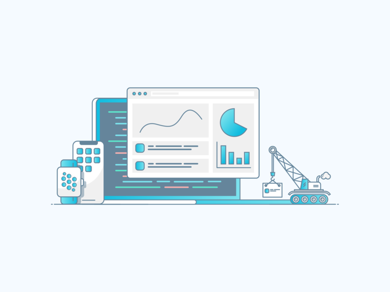 We build custom software code development crane apps computer work icon illustration software company software