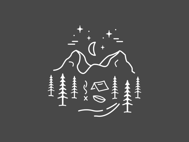Go Explore tattoo night stars mountains woods forrest illustration camping outdoors explore walking