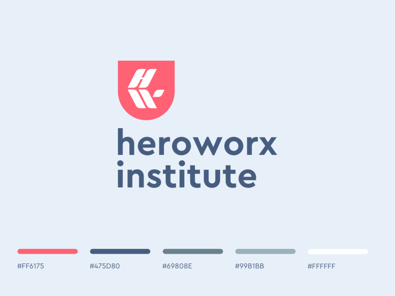 Heroworx Institute hw w h icon school college branding brand and identity logo identity identity logo mentoring coaching training business education university brand