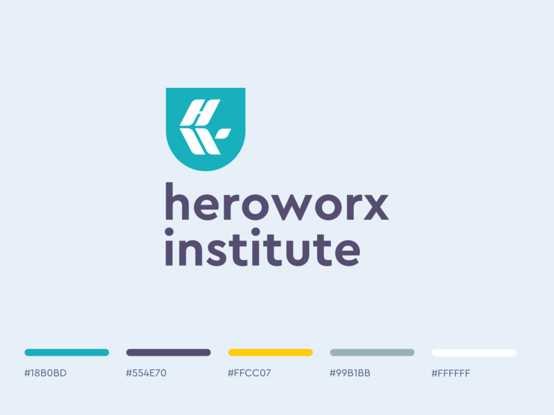Heroworx Institute  logo sign-off w h hw brand identity university learning school education logo education identity branding brand logo