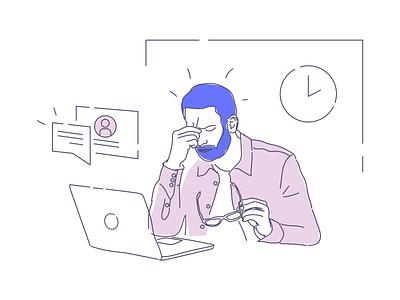 Stress illustration series office tech startup work illustration