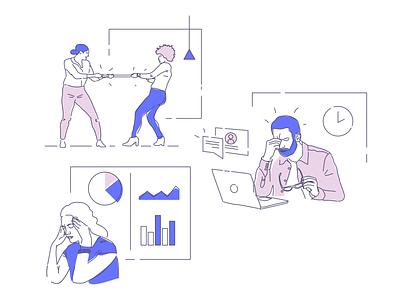 Stress illustration series tech startup work stress office illustration