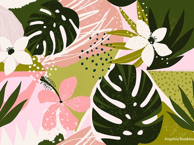 Collage contemporary tropical floral seamless pattern.