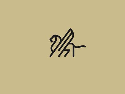 Winged Lion abstract simple creative mythology mythical logo animal lines lion
