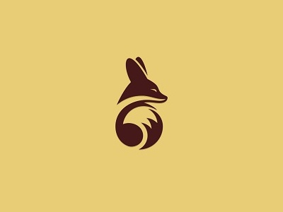 Fennec Fox animal space negative simple design logo fox fennec