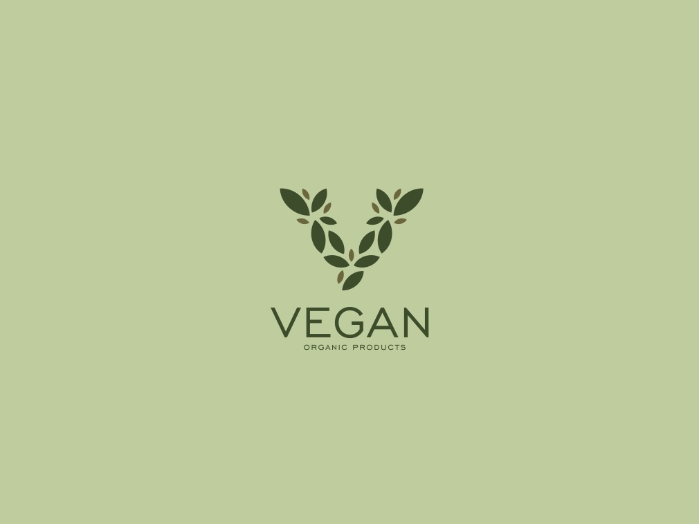 Vegan v letter v logo simple leaf logo design creative logo organic food organic vegan