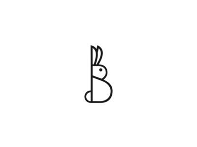 Bunny lettermark simple design abstract logotype icon animal minimal creative logo b letter letter b brand rabbit logo rabbit bunny