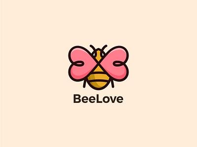 Bee Love love vector design heart honey bee honey heart logo bee abstract logotype icon creative logo