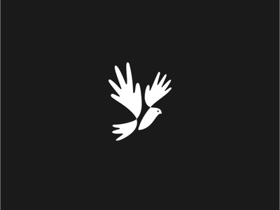 White Pigeon logotype icon animal design humanity abstract creative simple logo church white love christianity wedding hand hands pigeon