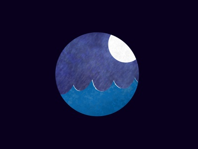 Moon and sea night moonlight moon procreate illustration