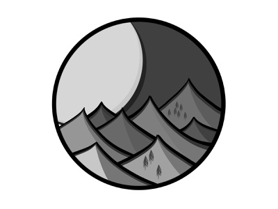 Mountains grey design block colour procreate illustration