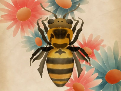Bee & flowers colour watercolour watercolor bee procreate illustration
