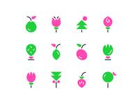 Botanic icons graphic design design mark botanical art botanical illustration botanic branding icon design icon set icon minimal illustration vector flat