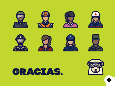 Heroes paramedic red cross engineer officer citizen fireman soldier police line icons heroes