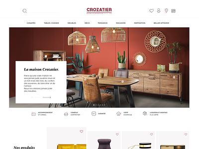 Crozatier icon picto slider furniture meuble branding typography minimalist homepage interface ux ui design