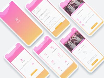 Peach beauty iOS App ux ui mobile menu girl design beauty app