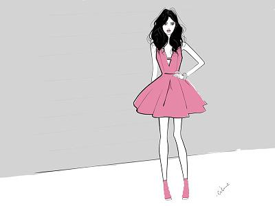 Woman with pinkDress shoes pink dress model mode minimalist illustrationdemode illustration graphic fashionillustration fashion beauty