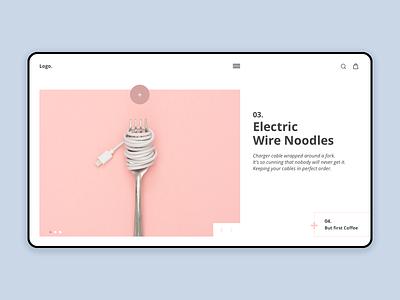 Homepage Noodles uiuxdesign inspiration interface pink challenge minimalist homepage ux ui design