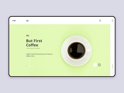 Homepage Coffee inspiration interface uiux challenge green minimalist homepage ux ui design