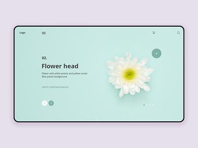 Homepage Flowers blue interface challenge minimalist homepage ux ui design