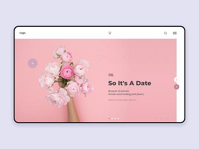 Homepage Date rose flower pink interface challenge minimalist homepage ux ui design